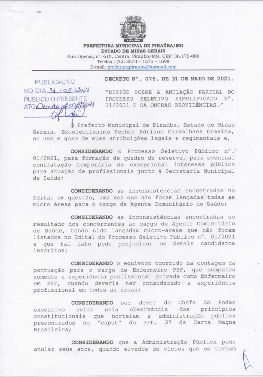 ANULAÇÃO PARCIAL DO PROCESSO SELETIVO SIMPLIFICADO Nº. 01/2021 PREFEITURA MUNICIPAL DE PIRAÚBA