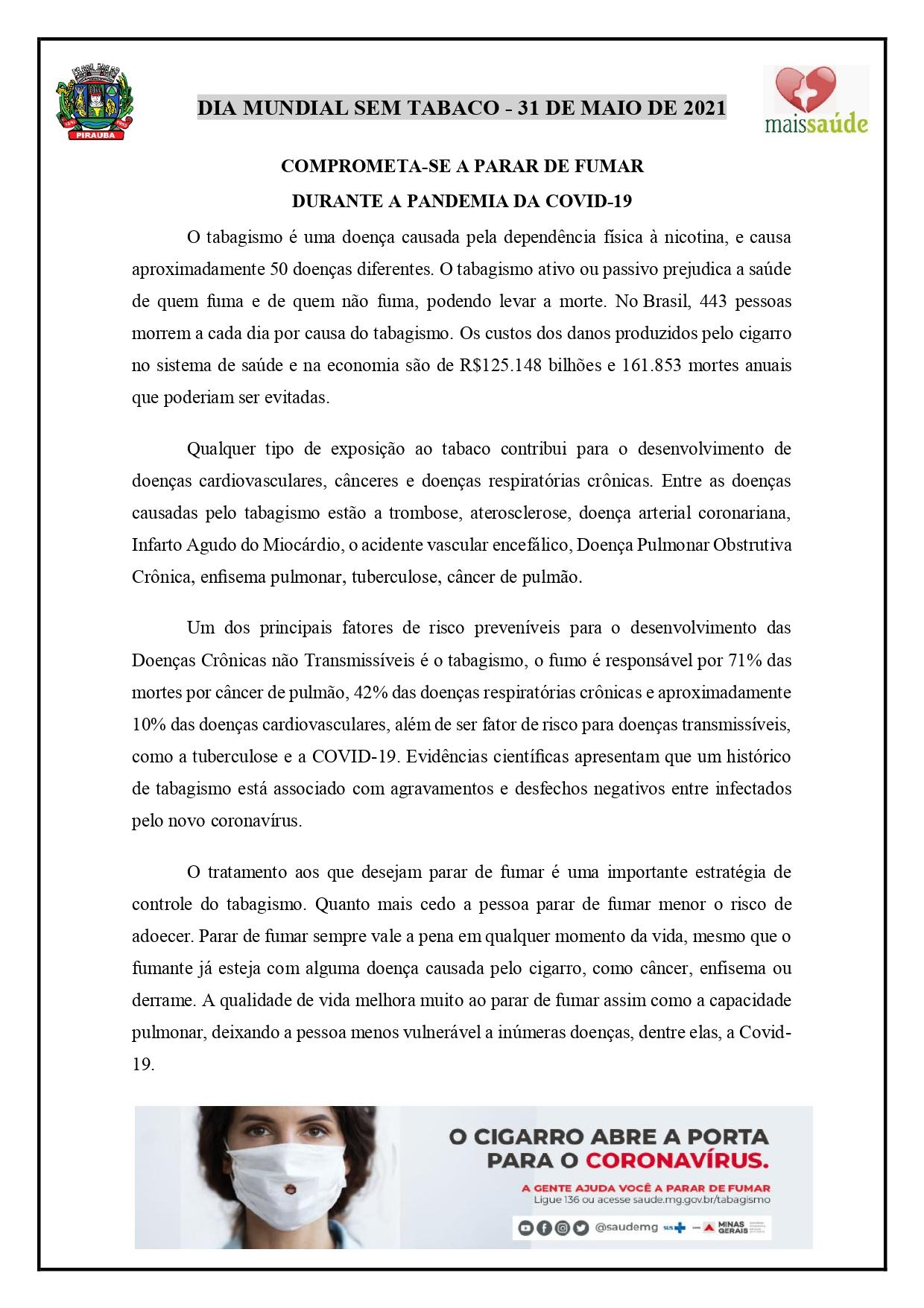DIA MUNDIAL SEM TABACO - 31 DE MAIO DE 2021