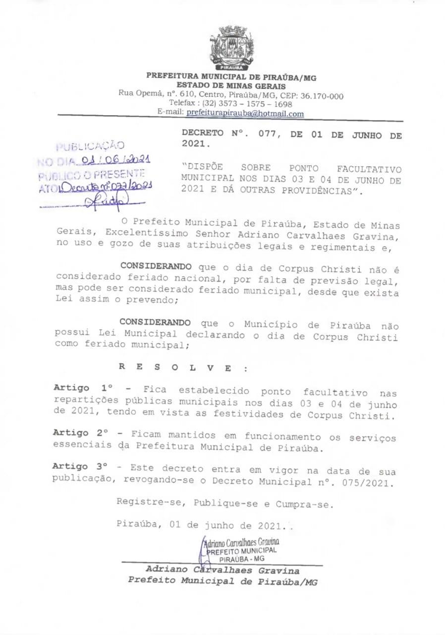 PONTO FACULTATIVO MUNICIPAL NOS DIAS 03 E 04 DE JUNHO DE 2021