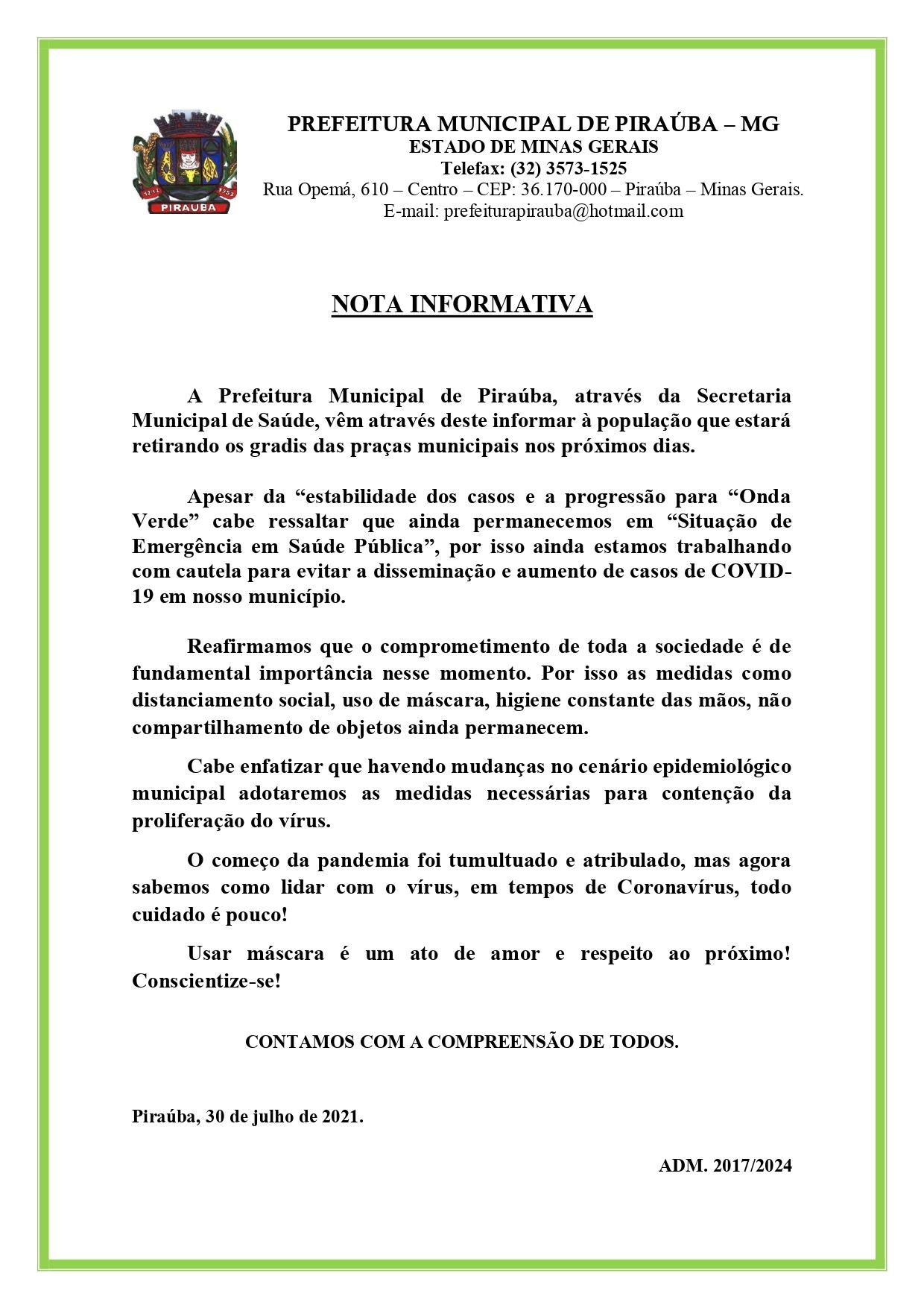 NOTA INFORMATIVA - PREFEITURA MUNICIPAL DE PIRAÚBA - 30/07/2021