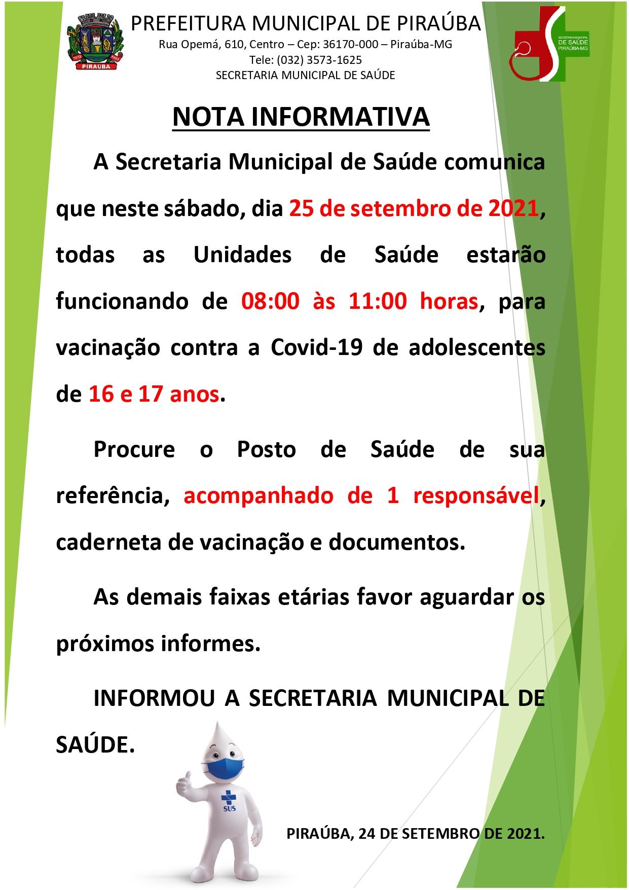 NOTA INFORMATIVA VACINAS COVID-19 (Adolescentes) - SMS PIRAÚBA