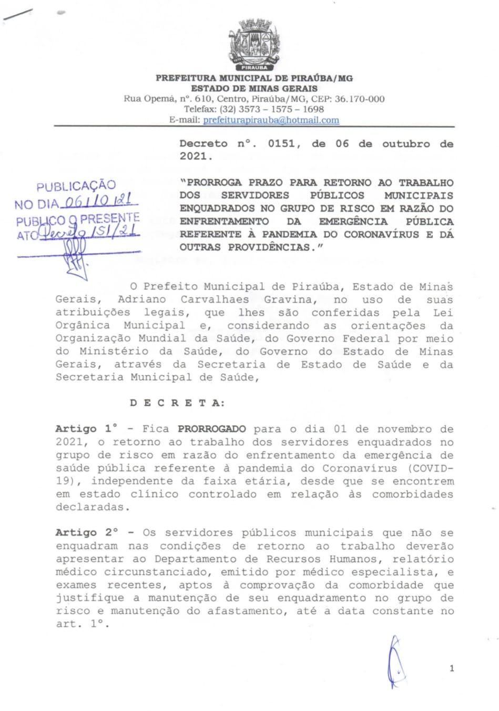 PRORROGA PRAZO PARA O RETORNO AO TRABALHO  DOS SERVIDORES PÚBLICOS MUNICIPAIS