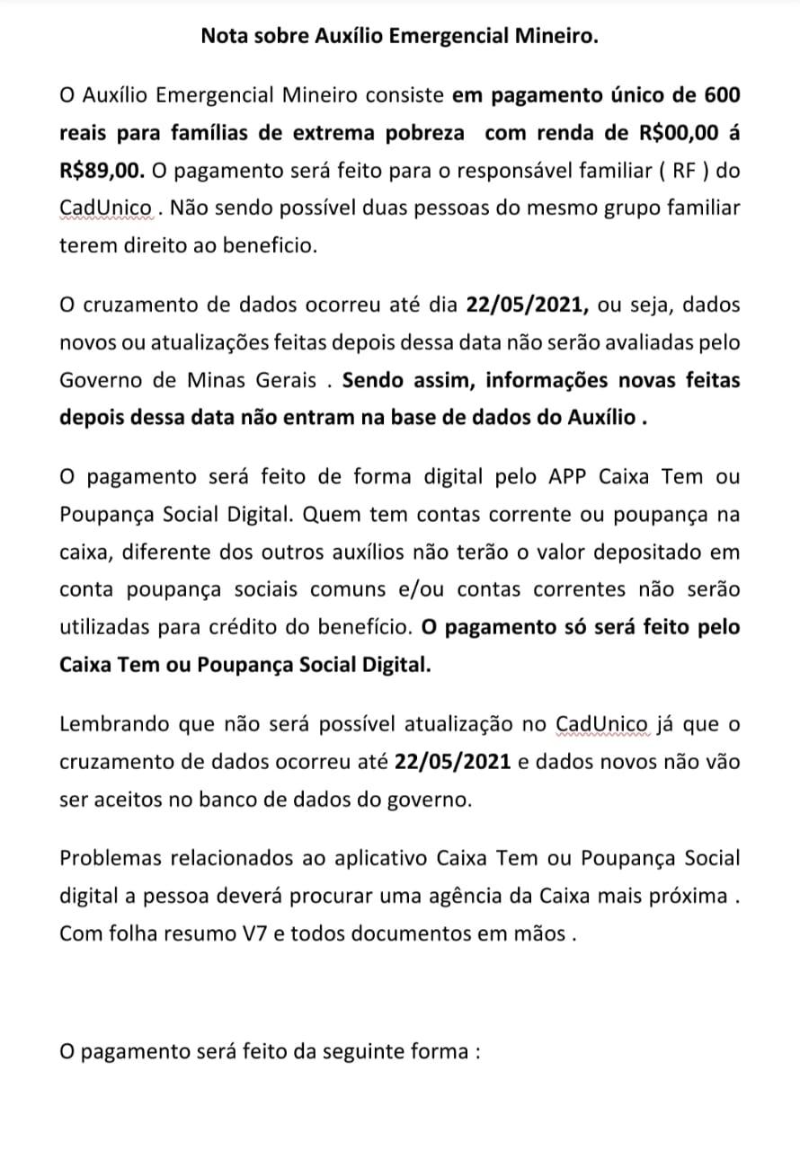 Nota sobre Auxílio Emergencial Mineiro.